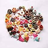 50pc Mixed DIY Scrapbooking Phone Case Decorative Craft Miniature Artificial Kawaii Flat Back Resin Cabochon Food