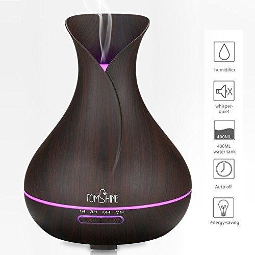 Tomshine Difusor Aromaterapia, Aroma ultrasónico Difusor de aceite esencial 400 ML Humidificador de aire de niebla Aromaterapia ajustable con 7 colores Cambio de cierre ligero para el Home Office Yoga