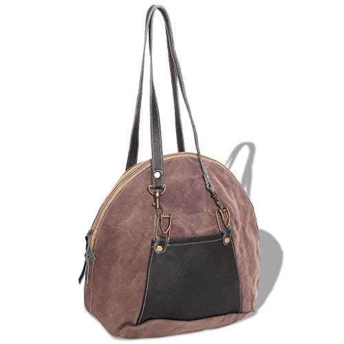 Handtasche Leinwand und Echtleder Braun