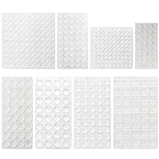 HO2NLE Clear Rubber Feet 436 Pieces Adhesive Cabinet Door Bumper Pads Noise-Dampening Transparent Buffer Pad Non-Slip for Drawer Furniture Coasters Glass 8 Sizes