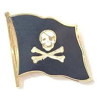 Pirate Skull & Crossbones Flag Jolly Roger Enamel Lapel Pin Badge