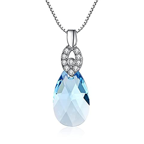 Water Pecklac 925 Sterling Silver Pendant Necklace with Aquamarine Blue Crystals From Swarovski By GoSparkling NL-68063