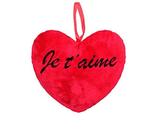 Coussin péluche en forme de coeur rouge avec l'inscription je t'aime en noir à suspendre avec un ruban en satin Idée cadeau saint valentin Ambiance amoureuse agréable et romantique garantie, choisir:Je t'aime 18cm 62/6109