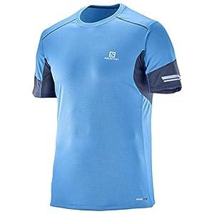 41rPctjBCXL. SS300  - Salomon Men's Short Sleeved Sport T-Shirt, Agile, Synthetic blend, Blue, Small