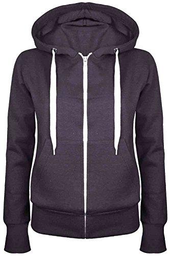 Be Jealous Womens Plain Hooded Sweatshirts Girls Zip Top Ladies Hoodies Coat Jacket Hoody Plus Size 6-24