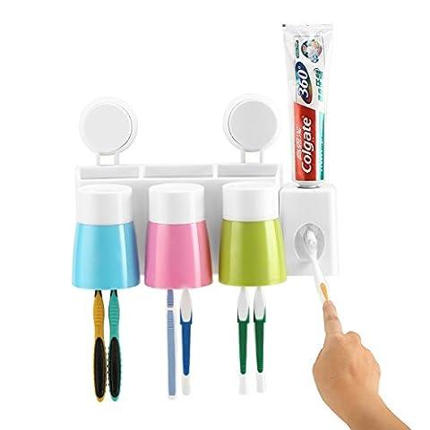 Distributeur de dentifricePorte-brosse à dents Anti-poussière avec 3 tasses Stockage murale de salle de bain pour brosse à dents Économise de