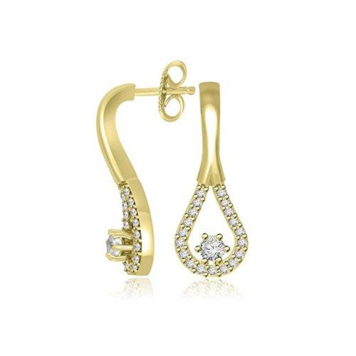 0.39ct G/SI1 Diamant Ohrringe für Damen mit runden Brillantschliff diamanten in 18kt (750) Gelbgold