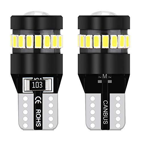 T10 W5W Auto LED Lampadine CANBUS,Ricambio Interni Luce Targa Luce Bi Posizione 12V 6000K Xenon Bianca (2)
