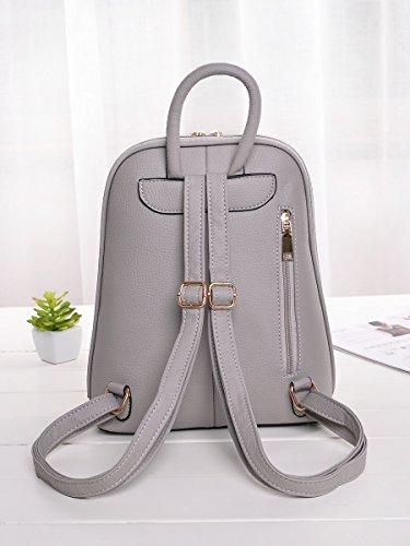 Choies Damen Rucksack Reißverschluss Detail PU Leder Daypack Casual chic Schulrucksack Grau Grau