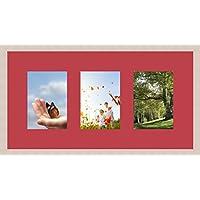 Marco Fotos 3fotos Triple (S) 13x 18Passe Partout, marco de fotos, color blanco roto., madera, rosa, 3 - 13x18