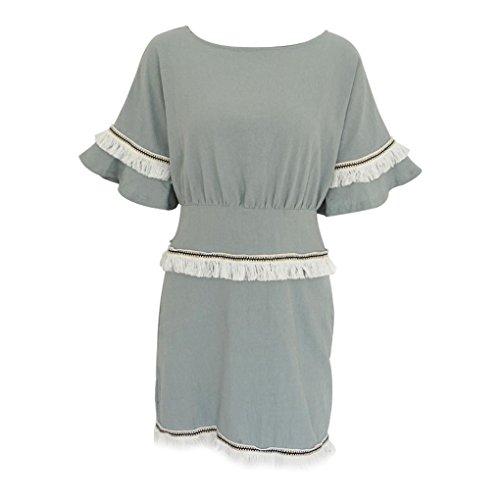 QUINTRA Womens Camisole Short Sleeve O-Neck Tassel Mini Dress Fashion Dress