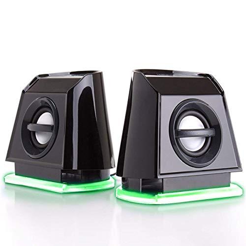 GOgroove PC Lautsprecher für Computer & Laptop, kleine 2.0 Stereo Speaker mit grünen LED Lights, leistungsstarkem Bass und passiven Subwoofern, USB betrieben