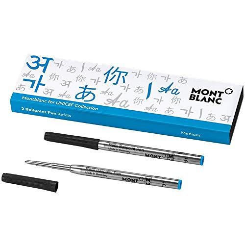 Un bolígrafo Montblanc juego de 2recambios. Este set cuenta con el color de UNICEF y compatible con todos los bolígrafos Montblanc, excepto Meisterstuck homenaje a W.A. Mozart. Color: Turquesa. Tamaño: Mediano.