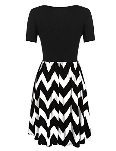 OURS Damen O-Ausschnitt Lange Ärmel Stretch Streifen Casual Basic Kleid Franki Skaterkleid MiniKleid Weiß