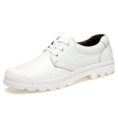 Uomini Cuoio Scarpe Casual Scarpe Di Cuoio Coreane Uomini Scarpe Singole White