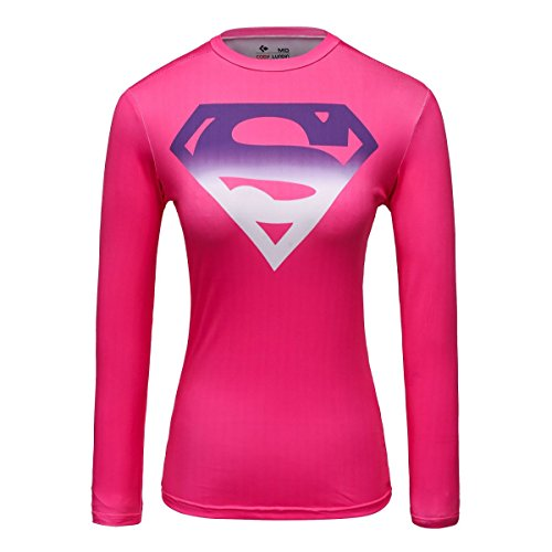 Cody Lundin Damen Rosa Superheld gedrucktes Logo Shirt weibliche funktionelle Outdoor-Style Party Sport Langarm (L)