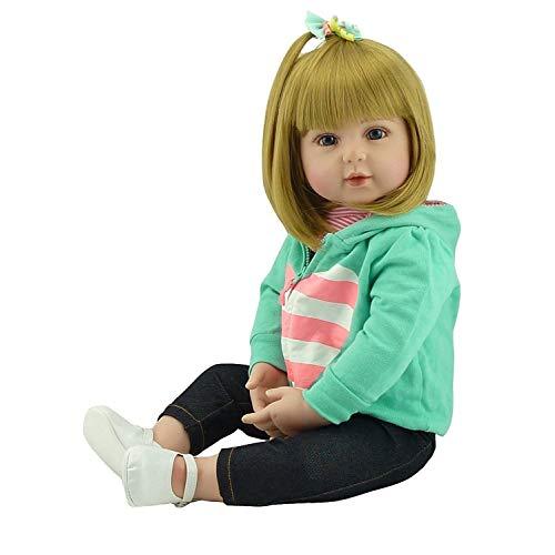 iCradle 18Zoll/45cm Weiche Silikon Vinyl Realistische Reborn Babypuppen Mädchen Kleinkind Reborn Baby Doll Magnetisch Mund with Blonde Haare (Haare, Blonde 18-zoll-puppen)