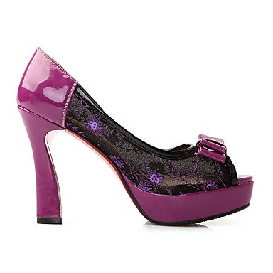LvYuan Da donna-Sandali-Matrimonio Casual Serata e festa-Comoda Scarpe ricamati Club Shoes-A stiletto-Tulle PU (Poliuretano)-Nero Verde Viola Purple