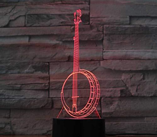 3D Led Nachtlichter Serenade Banjo Stil Tischlampe 7 Farbwechsel Dekoration Musikinstrument Liebhaber Geschenk
