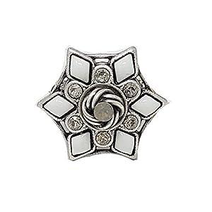 KONPLOTT Ring Arabic Nights, Metall verstellbare Ringschiene Glas weiß -5450543490106