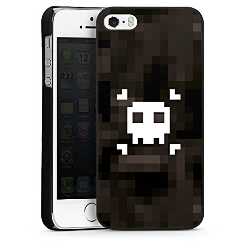 Apple iPhone 5s Housse Étui Protection Coque Pixel Pirates Tête de mort CasDur noir
