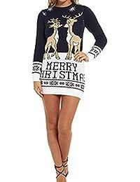 Women s Merry Christmas Baby Deer Print Knitted Jumper Men Midi Tunic Party  Dress S 19b3acd4d