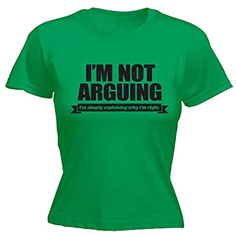 123t Women's I'm Not Arguing I'm Simply Explaining Why I'm Right Black Logo Funny 123t Tees Humour T-Shirts Joke Tees Sarcastic Gifts Fashion Tees Funny T-Shirts Birthday Gift FITTED