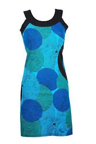 Filosophie Ausgefallenes Sommerkleid/Urlaubskleid mit bunten Ethno Muster – Hippie Chic – 100% Baumwolle - Ying (Blau) (3XL)