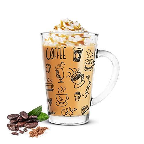 Sendez 6 Latte Macchiato Gläser 300m Kaffeegläser Teeglas mit schwarzem Kaffee-Aufdruck