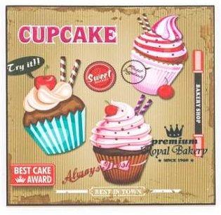Toile Cupcake - Tableau en bois Cupcake - vintage
