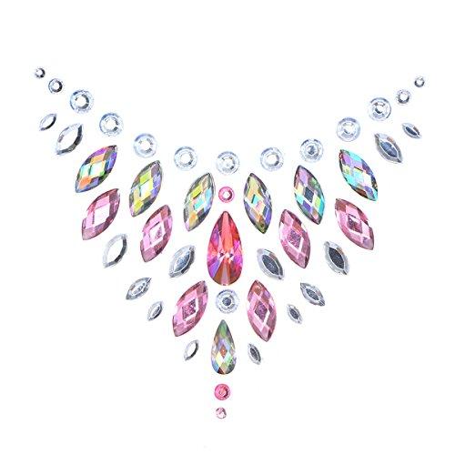 Fenical Crystal Breast Pasties Acryl Diamanten Sticking Art Brust Aufkleber mit ungiftigen Back Kleber für Frauen Karneval - Kulturen Auf Der Ganzen Welt Kostüm