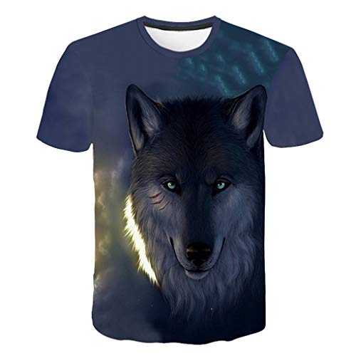 serliyHerren T-Shirts 3D Muster Kurzen Ärmels Kurzarm Shirt Sport Fitness T-Shirt Rundhalsausschnitt Lässige Graphics Tees