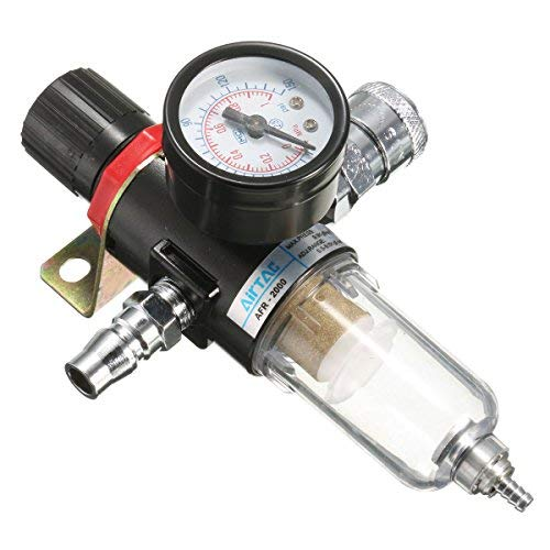 MASUNN Afr-2000 1/4 Compresor De Aire Filtro Separador De Agua Trampa Herramientas Kit Con Medidor De...