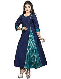 Ruchika Fashion Women's Clothing Silk Navy Blue Kurti For Women Latest Design Party Wear Collection