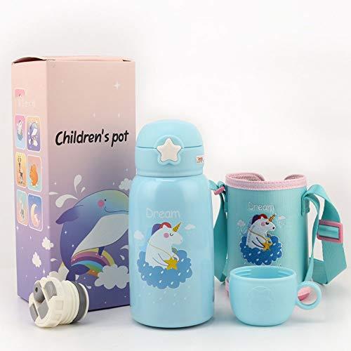 Roy&Rey Edelstahl-Thermoskanne, Süße Trinkflasche für drinnen und draußen, Isolierte auslaufsichere Saugflasche für Kinder (550 ml) (Pattern : Dream)