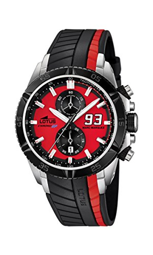 Lotus Marc Marquez Collection 2014 Men's Quartz Watch with Red Dial Chronograph Display and Black Rubber Strap 18103/2