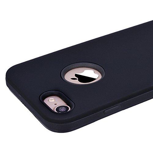 Yokata Coque iPhone 8 Plus (5.5 pouces) Étui Hybride Antichoc en Silicone 2en1 Design Etui iPhone 8 Plus Souple Housse Mince Fine Soft Case Bumper en Gel Slim Cover Anti Choc Housse de Protection - Mi Black