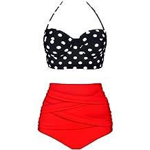 Angerella Mujer Retro Polka Punto Cintura Alta Traje de Ba?o Bikini