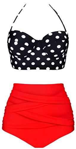 Angerella Damen 50S Retro Polka-Punkt mit Hoher Taille Halter-Halter-Bügel Badeanzüge Bikini (Polka Dot Bikini-badeanzug)