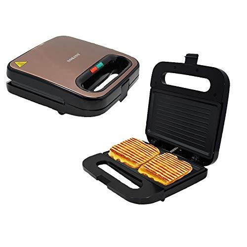 KKDWJ Sandwich Toaster Toast Maker - Antihaft-Heizplatten mit tiefer Füllung - Elektrische Grillpresse Perfekt für geröstete Käsesnacks - 750 W - Schwarz