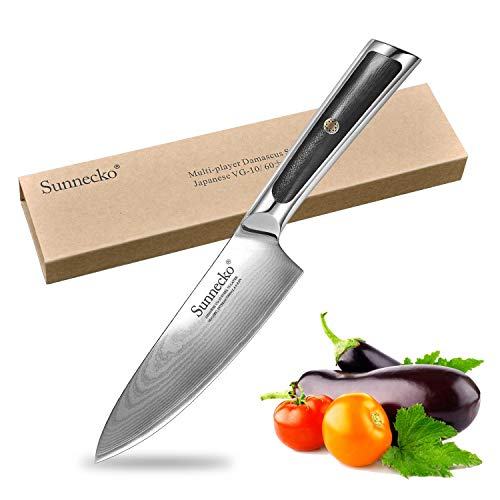 Sunnecko Profi Küchenmesser Kochmesser 16,5cm - Elite Serie Japanische Qualität Damastmesser 6,5inch - Extra Scharfe Klinge mit Ergonomischer Griff