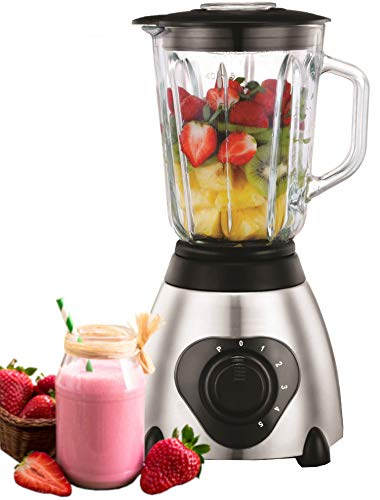 Standmixer 800 Watt Glas Edelstahl | Smoothie Maker | Mixer | Universal Power Mixer | 1,5 Liter | 6-Fach Metallmesser | Zerkleinerer | Eiweiß Shaker | Ice Crusher (Edelstahl) - Power Mixer-cup