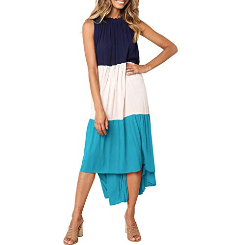 Nyuiuo Frauen Boho Ärmellos Patchwork Sommerkleid Casual Elegant Retro beiläufiges Lange Maxi-Kleid Oansatz Mini Schulter Sleeveless überlagertes Loses langes Maxi Kleid der Frauen -