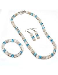 Sanaa Creations Women/Girl Pendant Set Glass Beaded White & Light Blue Color Necklace Earring With Bracelet Set...