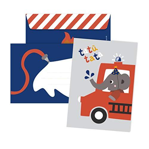 JulicaDesign Einladung Feuerwehr Geburtstag | 6 Einladungskarten mit Umschlag | Feuerwehrparty (Einladungen Feuerwehr-geburtstag)