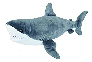 Wild Republic 22485 White Shark Plush Soft Toy, Grey/White, 30 cm