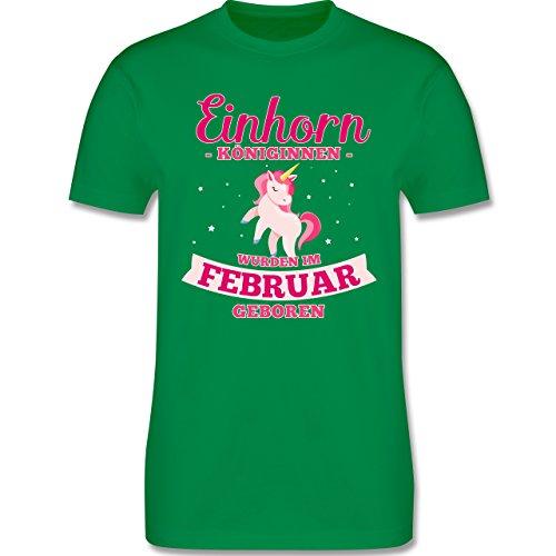 Shirtracer Geburtstag - Einhorn Königinnen Wurden IM Februar Geboren - Herren T-Shirt Rundhals Grün