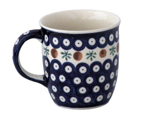 Boleslawiec Pottery Mug with round handles, 0.35 L, Original Bunzlauer Keramik, Decor 41