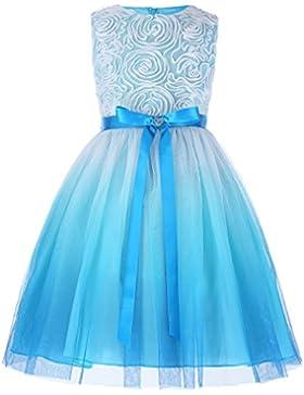 GRACE KARIN Vestido de Fiesta para Niñas Vestido sin Mangas Flores de Dama de Honor Boda Bautizo 2-12 Años