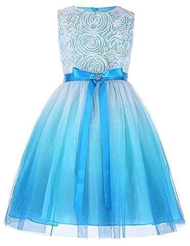 Princess sleeveless Rosette Flower Girl Dress 8-9 yrs